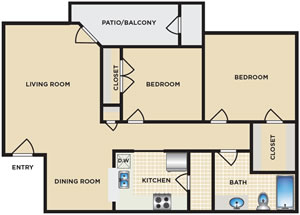 Two Bedroom / One Bath - 862 Sq. Ft.*